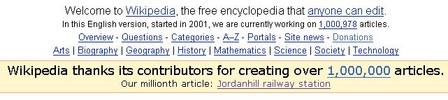Wikipedia 1,000,000th article
